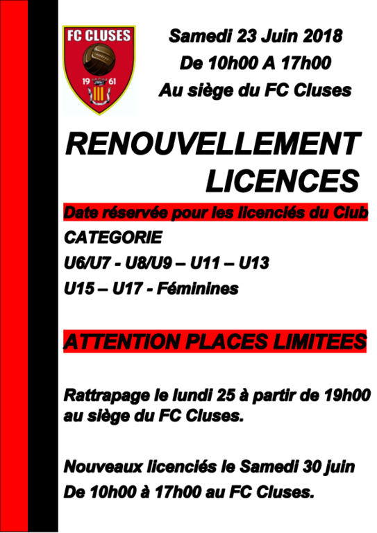 RENOUVELLEMENT LICENCE