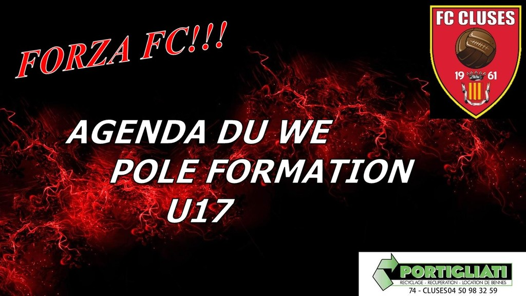 FC CLUSES AGENDA DU WE POLE FORMATION U17