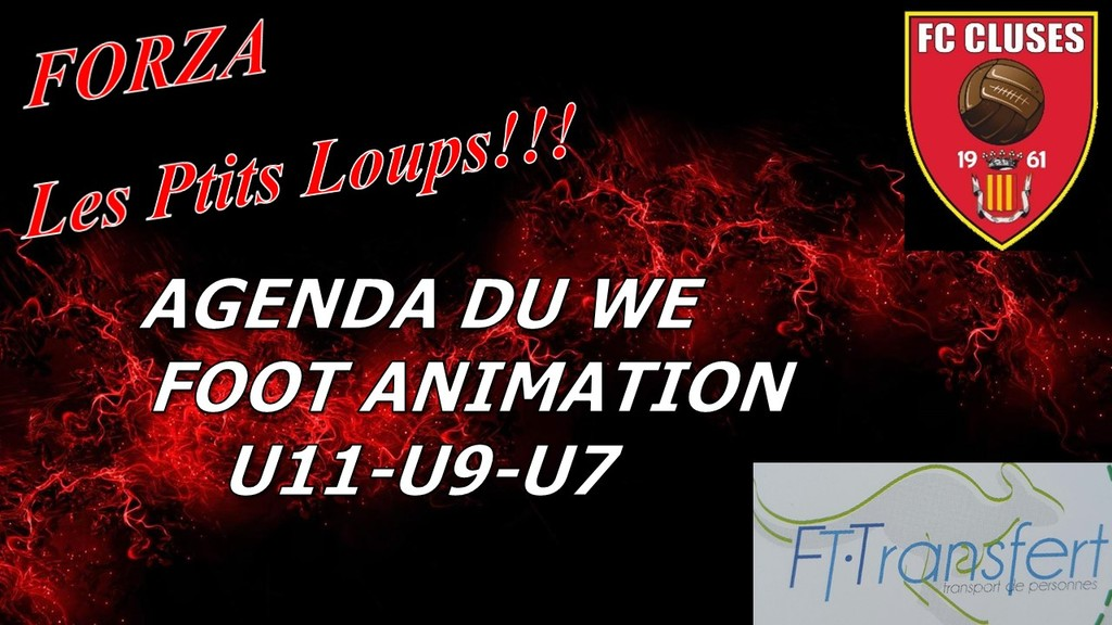 FC CLUSES AGENDA DU WE FOOT ANIMATION